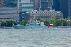 HMCS Kingston at Fleet Week. NEW YORK, NY - May 25, 2016: The HMCS Kingston from Canada, cruises up the Hudson River during the Parade of Ships, kicking off Royalty Free Stock Photo