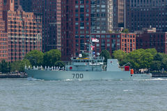 HMCS Kingston at Fleet Week. NEW YORK, NY - May 25, 2016: The HMCS Kingston from Canada, cruises up the Hudson River during the Parade of Ships, kicking off Stock Images