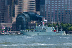 HMCS Moncton at Fleet Week. NEW YORK, NY - May 25, 2016: The HMCS Moncton from Canada, cruises up the Hudson River during the Parade of Ships, kicking off Fleet royalty free stock photos