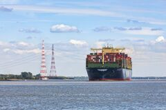 HMM Algeciras, World`s Largest Container Ship  On Elbe River Stock Photo