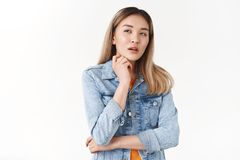 Hmm I Understood. Young Asian Blond Girlfriend Squinting Thoughtful Look Away Open Mouth Touch Chin Pondering Finally Stock Image