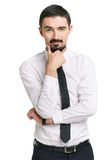 Hmm. Portrait of pensive male in formalwear looking at camera Royalty Free Stock Photo