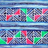 Hmong部落纺织品样式设计,手拉的水彩绘 库存照片
