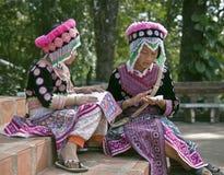 Hmong barn i traditionell klänning Arkivfoto