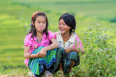 Hmong children smiling in rice terrace river side Stock Photos