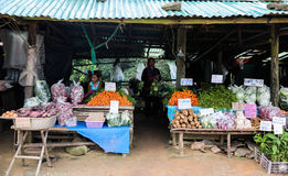 Hmong effectuent une vente , Hmong tribal effectuent une vente sur le marché de montagne Photos stock