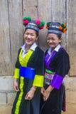 Hmong ethnic minority in Laos. BAM NA OUAN , LAOS - AUG 13 : Girls from the Hmong Minority in Bam Na Ouan village Laos on August 13 2018. The Hmong minority is stock image
