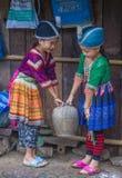 Hmong ethnic minority in Laos. BAM NA OUAN , LAOS - AUG 13 : Girls from the Hmong Minority in Bam Na Ouan village Laos on August 13 2018. The Hmong minority is royalty free stock image
