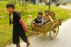 Hmong flower children leaving for work Stock Photos