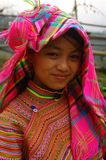 Hmong flower girl returning from the fields. Of the region of Lao Cai in northern Vietnam Stock Photography
