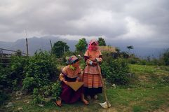Hmong flower girls returning from the fields Royalty Free Stock Photo