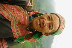 Hmong flowered Grandmother Stock Photography