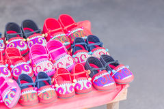 HMONG Handmade Hill Tribe Children's Shoes Royalty Free Stock Photos