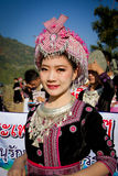 Hmong hill tribe woman. Unidentified traditionally dressed Hmong hill tribe woman in Hmong new year festival on January 15, 2013 in Chiang Mai, Thailand stock photos