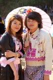 Hmong kullstammar man och kvinna. Royaltyfria Foton