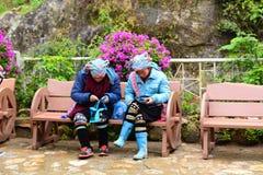 Hmong ludzie Srebna siklawa Sa Pa Wietnam Obraz Royalty Free