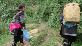 Hmong Minority women walk through forest. Black Hmong Ethnic Minority women walk through the forest to village near Sapa, Vietnam stock video