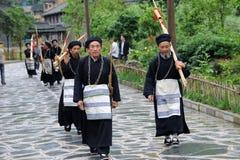 Hmong musicians from Guizhou with lusheng stock photo