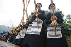 Hmong musicians from Guizhou perform on lusheng Stock Photos
