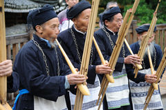Hmong musicians from Guizhou perform on lusheng Stock Photo