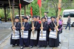 Hmong Musiker von Guizhou führen am lusheng durch Lizenzfreie Stockfotos