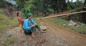 Hmong people working at the small village in Ha Giang, Vietnam Royalty Free Stock Photos