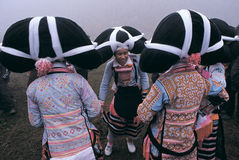Hmong  in southwest  China. Hmong  women in  national   dress,in  Guizhou,China Stock Photo