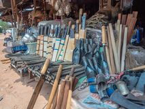 Hmong metal work for sale at roadside stall stock photos