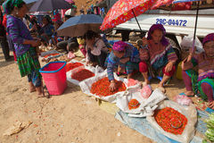 Hmong tribe people selling chili pepper and other agriculture products stock photos