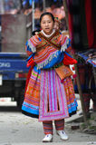 Hmong tribe woman carrying her child, Bac Ha, Vietnam Stock Images