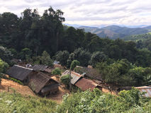 Hmong village in north mountainous Laos Stock Image