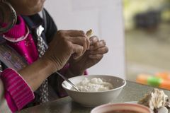 Hmong woman eating rice with chicken in Vietnam stock images
