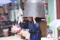 Hmong woman people are colorful costume trading of agricultural products at the LAOCAI Royalty Free Stock Photo