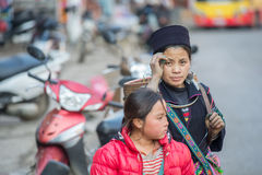 Hmong woman in Sapa, Vietnam Stock Photo