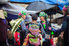 Hmong women with baby in national clothes, Vietnam Royalty Free Stock Images