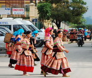 Hmong women going to the market in Yen Bai, Vietnam Stock Images