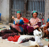 Hmong women at a market in Sapa Royalty Free Stock Images