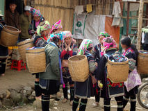 Hmong women talk market Stock Photography