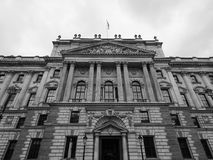 HMRC in London black and white. LONDON, UK - CIRCA JUNE 2017: HMRC Her Majesty Revenue and Customs building in black and white Royalty Free Stock Photography