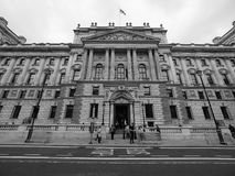 HMRC in London black and white. LONDON, UK - CIRCA JUNE 2017: HMRC Her Majesty Revenue and Customs building in black and white Royalty Free Stock Photos