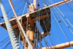HMS与绳索的战士索具 图库摄影