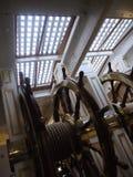 HMS战士的操舵室在波兹毛斯港口,汉普郡 库存照片