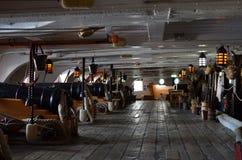 HMS胜利炮甲板  免版税库存图片