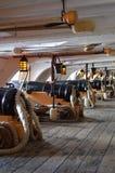 HMS胜利炮甲板  免版税库存照片