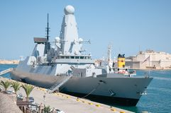 HMS金刚石,英国皇家海军驱逐舰 马耳他瓦莱塔 免版税库存图片