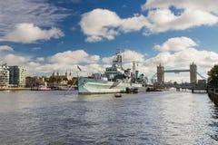 HMS贝尔法斯特,伦敦 免版税库存图片