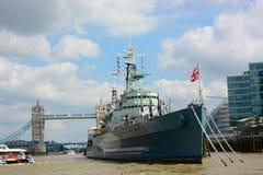 军舰HMS贝尔法斯特 免版税图库摄影