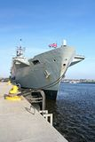 HMS Ark Royal aircraft carrier. Flagship of the British Royal Navy taken with wide angle lens Stock Photos