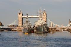 HMS Belfas and Tower Bridge Stock Image