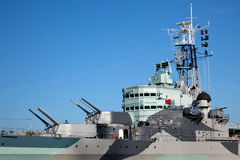 HMS Belfast. Gun turrets and deck of HMS Belfast stock images